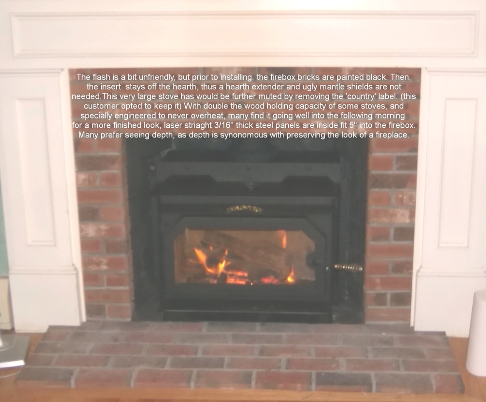 Country flame wood stove insert -  2350